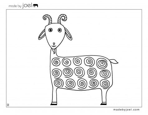 kleurplaten o.a. van de geit van made by Joel