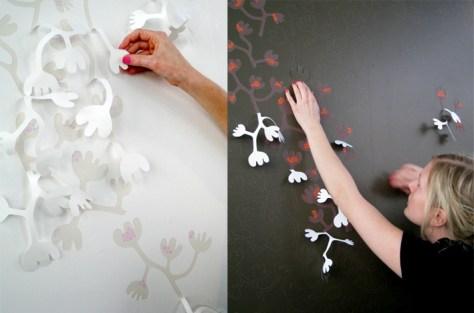 bloesem behang waar je je eigen patroon los kan pulken via hannanyman