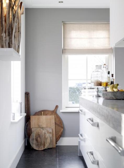 vouwgordijn in de keuken