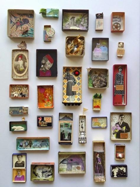 een mooie kunstverzameling in luciferdoosjes (via mano's welt)
