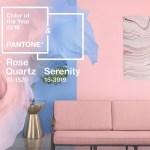 de kleur van 2016 rose quartz en serenity