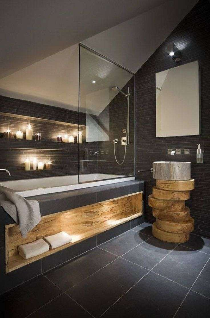Badkamer antraciet met hout  Woontrendz