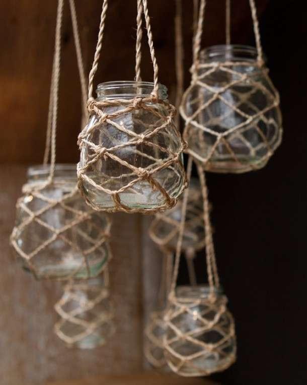 Glazen potten macram touw  Woontrendz