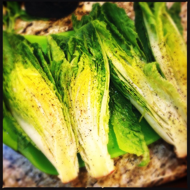 Cut romaine for grilling