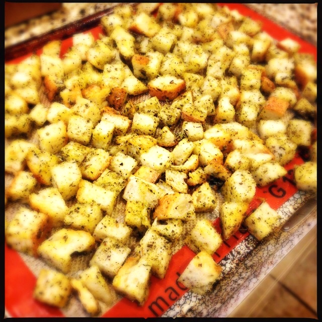 Croutons, ready for the oven