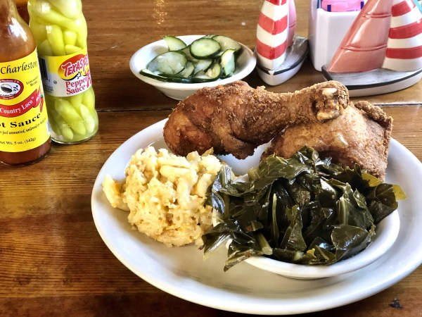 Fried chicken collard greens and macaroni and cheese