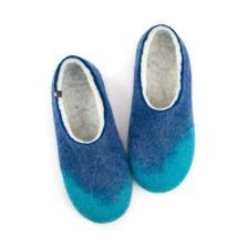 Felt slippers AMIGOS turquoise blue white