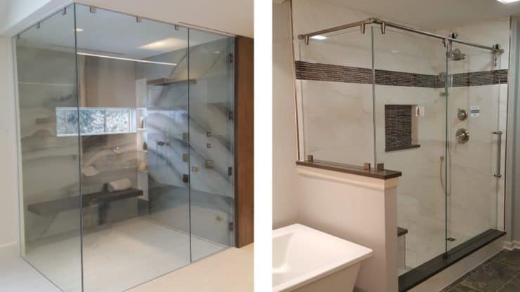 photo of two glass shower enclosures