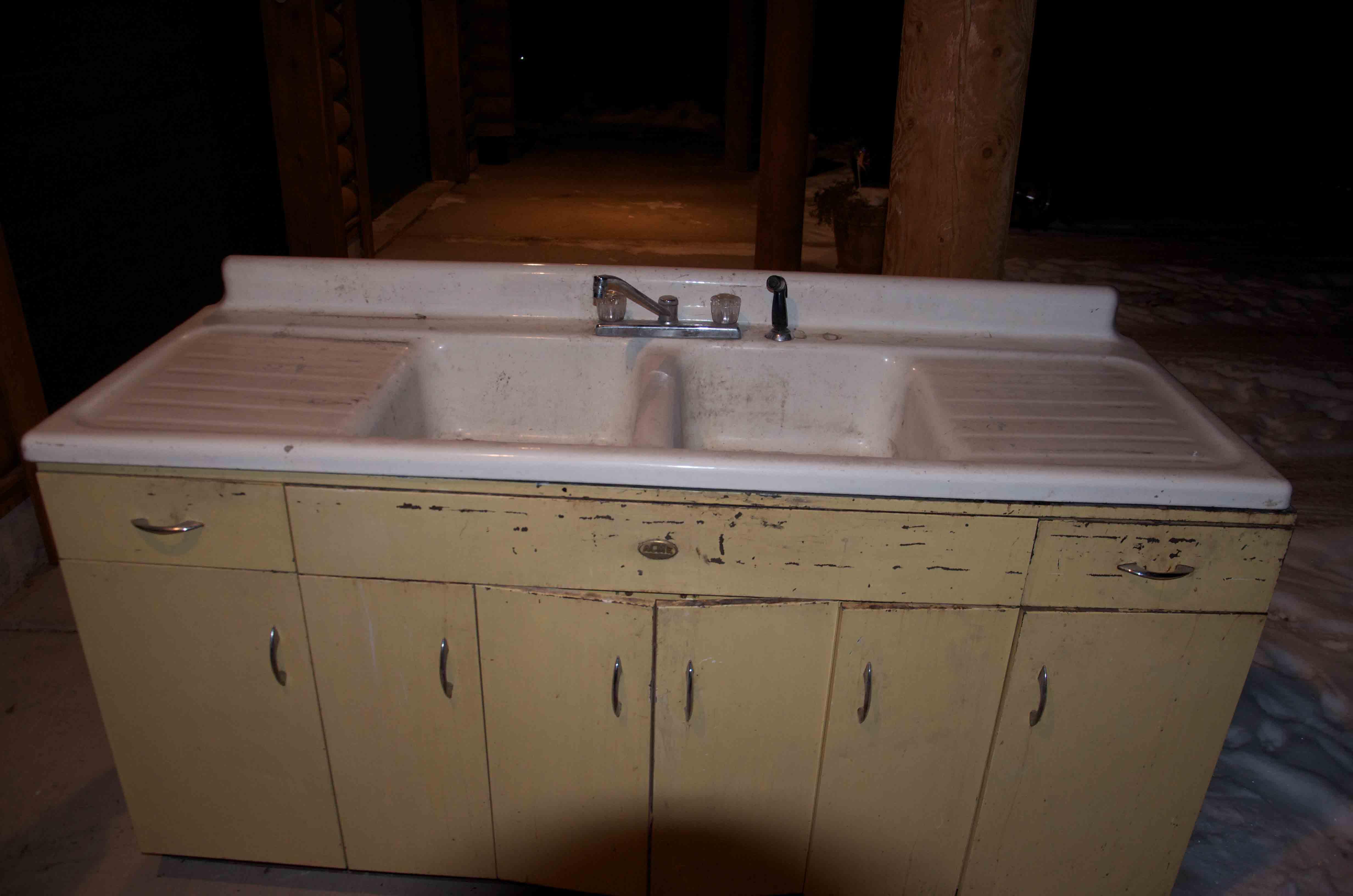 vintage double basin double drain sink