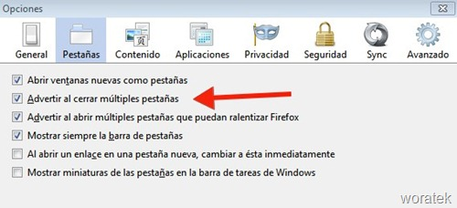 Configurar Firefox al cerrar pestañas