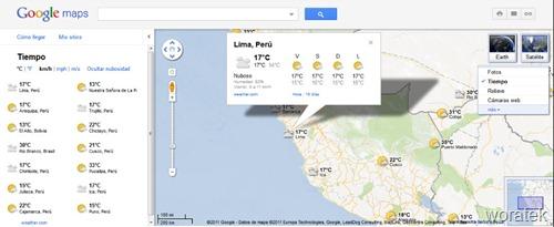 Google Maps el tiempo en el mundo
