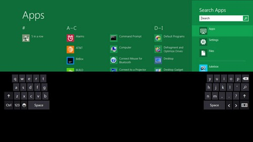 Windows 8 teclado tactil