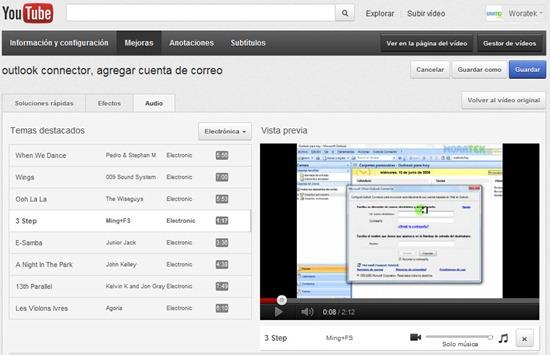 Agregar musica de fondo a youtube