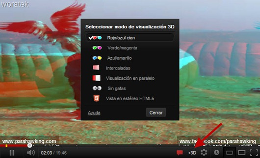 YouTube 3D en barra de reproducción