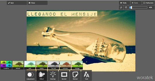 Pixlr Express con imagen de botella y barco