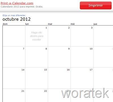 30-10-2012 Print a calendar