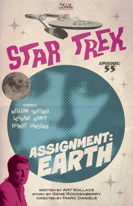 Póster del episodio 55 de Star Trek mostrando la nave espacial