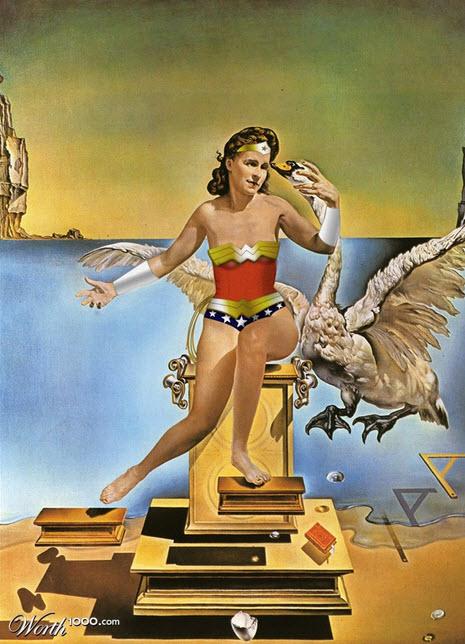 Versión pintura Dali de la mujer maravilla