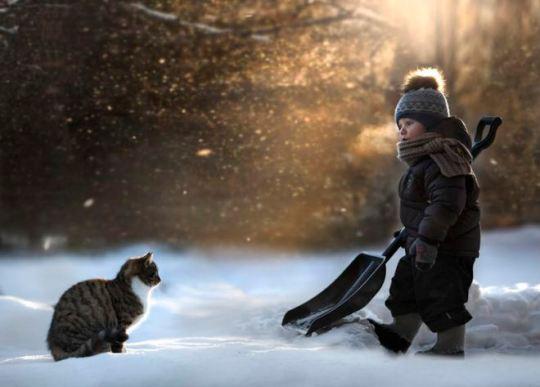 Niño en la nieve trabajos de luz fotografía