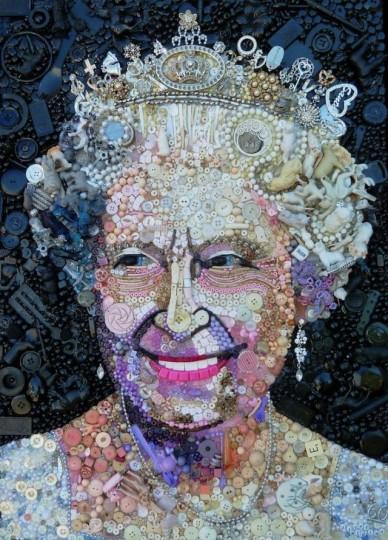 Retrato de la reina hechos con objetos encontrados