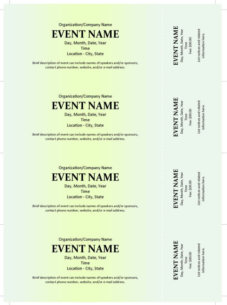 Commercial Event Ticket Template
