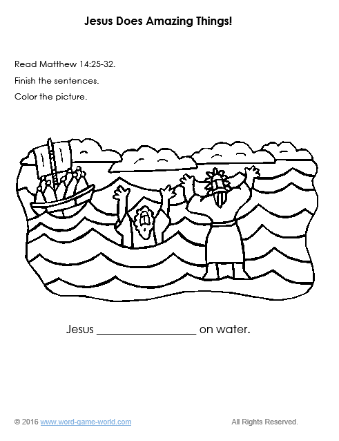 Bible Coloring Pages for Kids : Jesus Does Amazing Things!