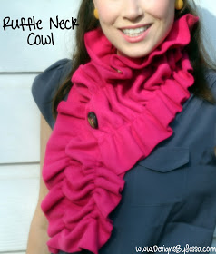 Ruched scarf. This one is sewn but rushing could be accomplished by weaving through a thin piece of fleece and tying or threading into the ends of the scarf