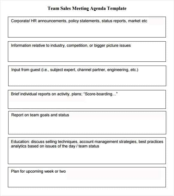 6 Meeting Agenda Templates Word Excel Templates – Sales Meeting Report Template