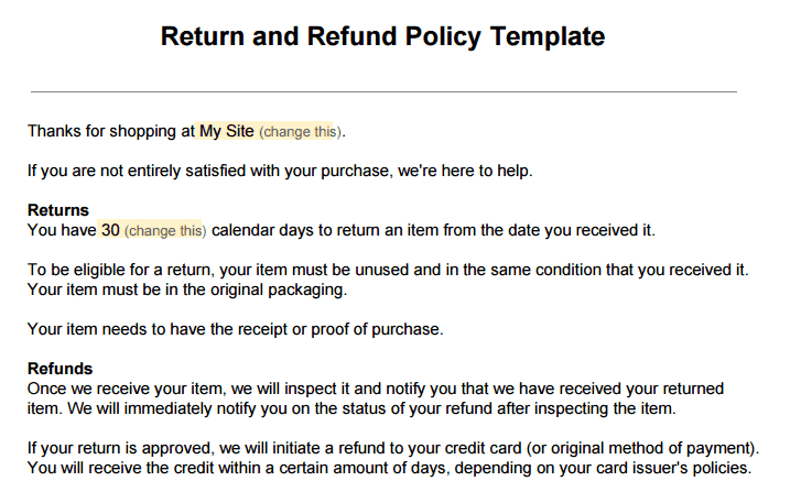 Refund Policy Template sample return policy for ecommerce stores