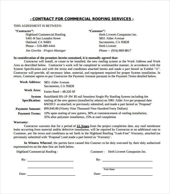 5 Roofing Contract Templates Word Excel Templates