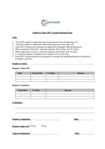 Sample Time Off Request Form Free Business Credit Application