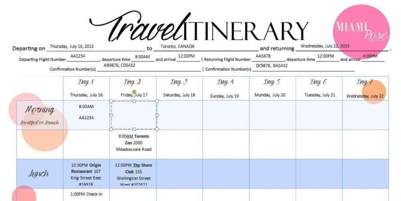 holiday itinerary template word