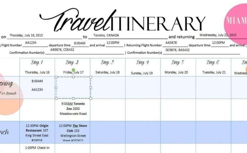 Business Travel Itinerary Template Archives - Word Excel Templates