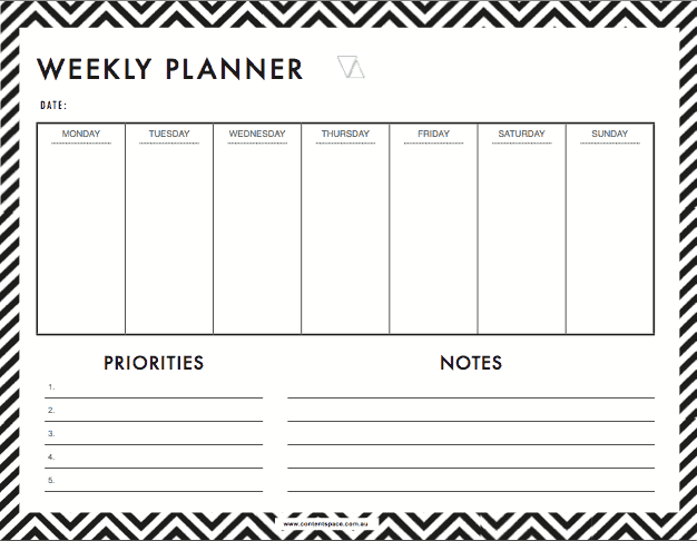 6 Weekly Planner Templates Word Excel Templates
