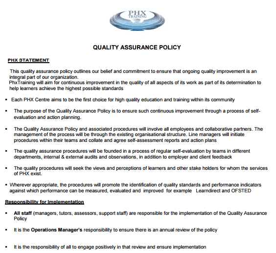 5 quality assurance policy templates word excel templates for Quality assurance policy template