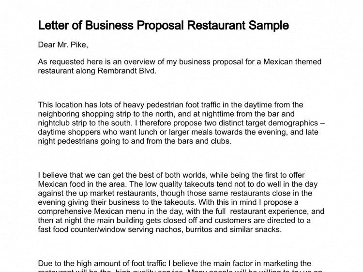 5 Business Proposal Letter Templates Word Excel Templates – Marketing Proposal Letter