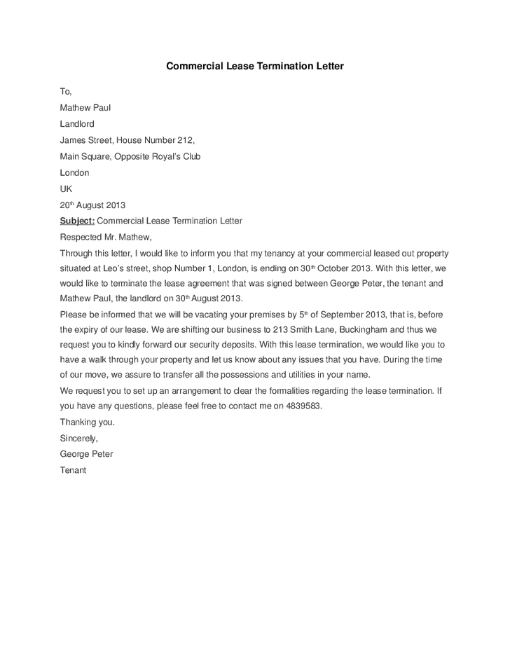5+ Commercial Lease Termination Letter Templates - Word Excel ...