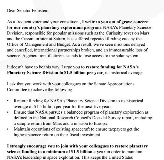 letter to your senator Sample letter to your senator the following is a sample letter to your senator that can be modified as you see fit to advocate for public schools in your community, as well as those across the state.