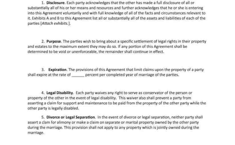 Prenuptial Agreement Form Pdf Archives  Word Excel Templates