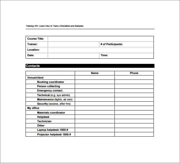 Use this form to help your new hires adjust to your company's work environment. 5 Training Checklist Templates Word Excel Templates