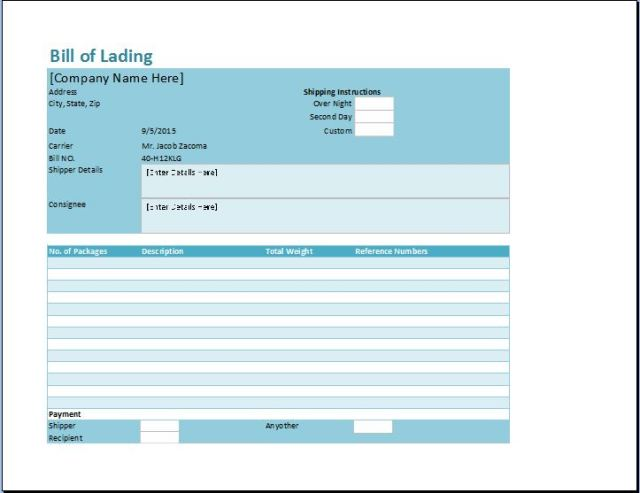 bill of lading template excel free download elsevier