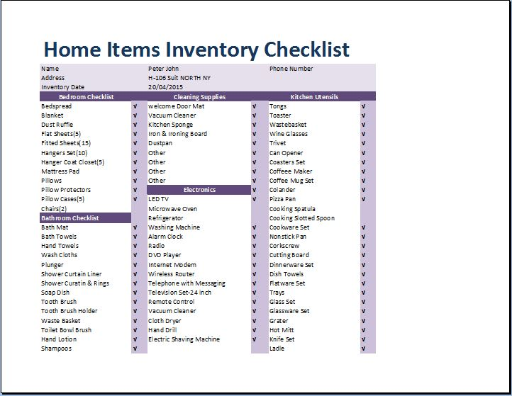 household inventory checklist