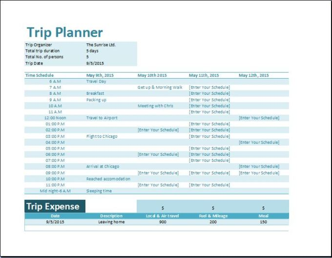 Travel Itinerary Schedule Template Distination