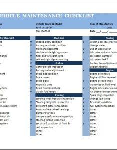 General vehicle maintenance checklist template word excel templates also sivandearest rh