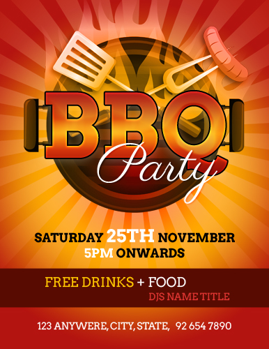 Backyard Barbecue BBQ Party Flyer Template Word & Excel