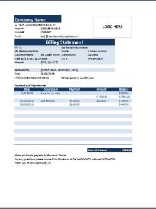 MS Excel Billing Statement Invoice Template