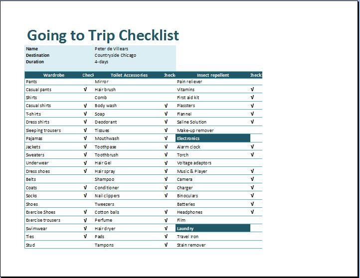 MS Excel Going To Trip Checklist Template Word Excel Templates