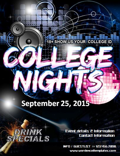 College Night Party Flyer Word Amp Excel Templates