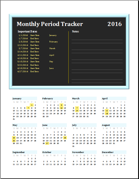 Monthly Period Tracker Editable Printable MS Excel Template Word Amp Excel Templates