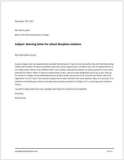 Violation of Discipline Warning Letter  Word  Excel